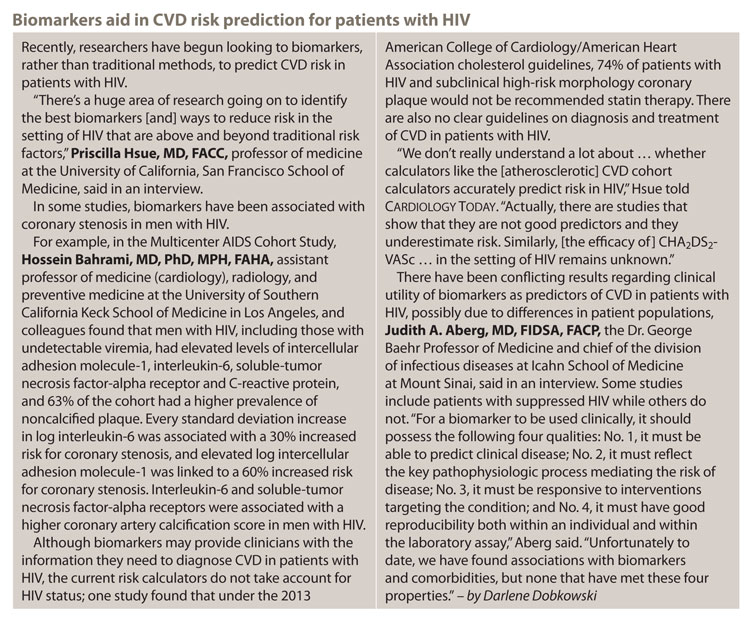 Biomarkers aid in CVD risk prediction for patients with HIV