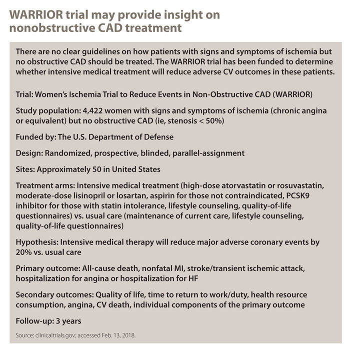 WARRIOR trial may provide insight on nonobstructive CAD treatment