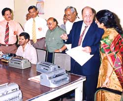 Dr. Mehta setting up a Braille school