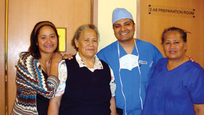 The patient in the black sweater suffered from bilateral white cataracts for many years.