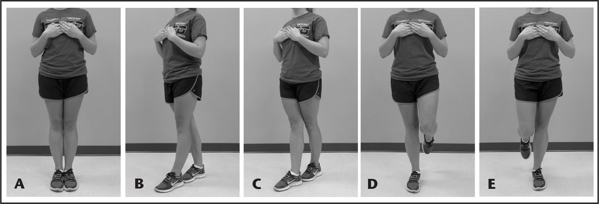 SWAY Balance Mobile Application (SWAY Medical, LLC, Tulsa, OK) balance stances: (A) bipedal stance; (B) tandem stance left foot forward; (C) tandem stance right foot forward; (D) single leg stance right leg; (E) single leg stance left leg.