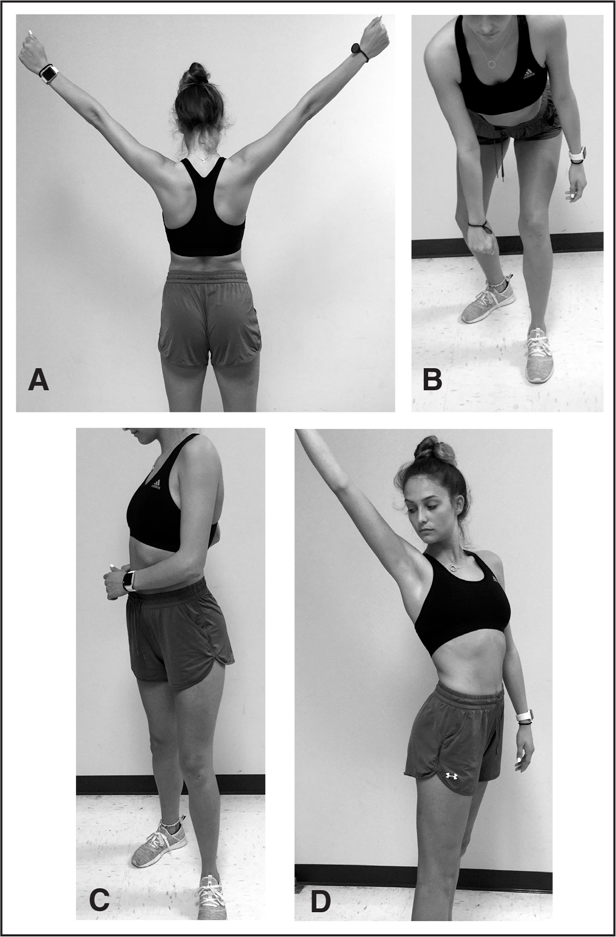 """(A) Long lever """"Y"""" exercise. Short lever lawnmower exercise (B) beginning with trunk and knee flexion and (C) ending with patient standing erect while using trunk rotation to achieve scapular retraction. (D) Combination of long lever exercise with trunk rotation."""