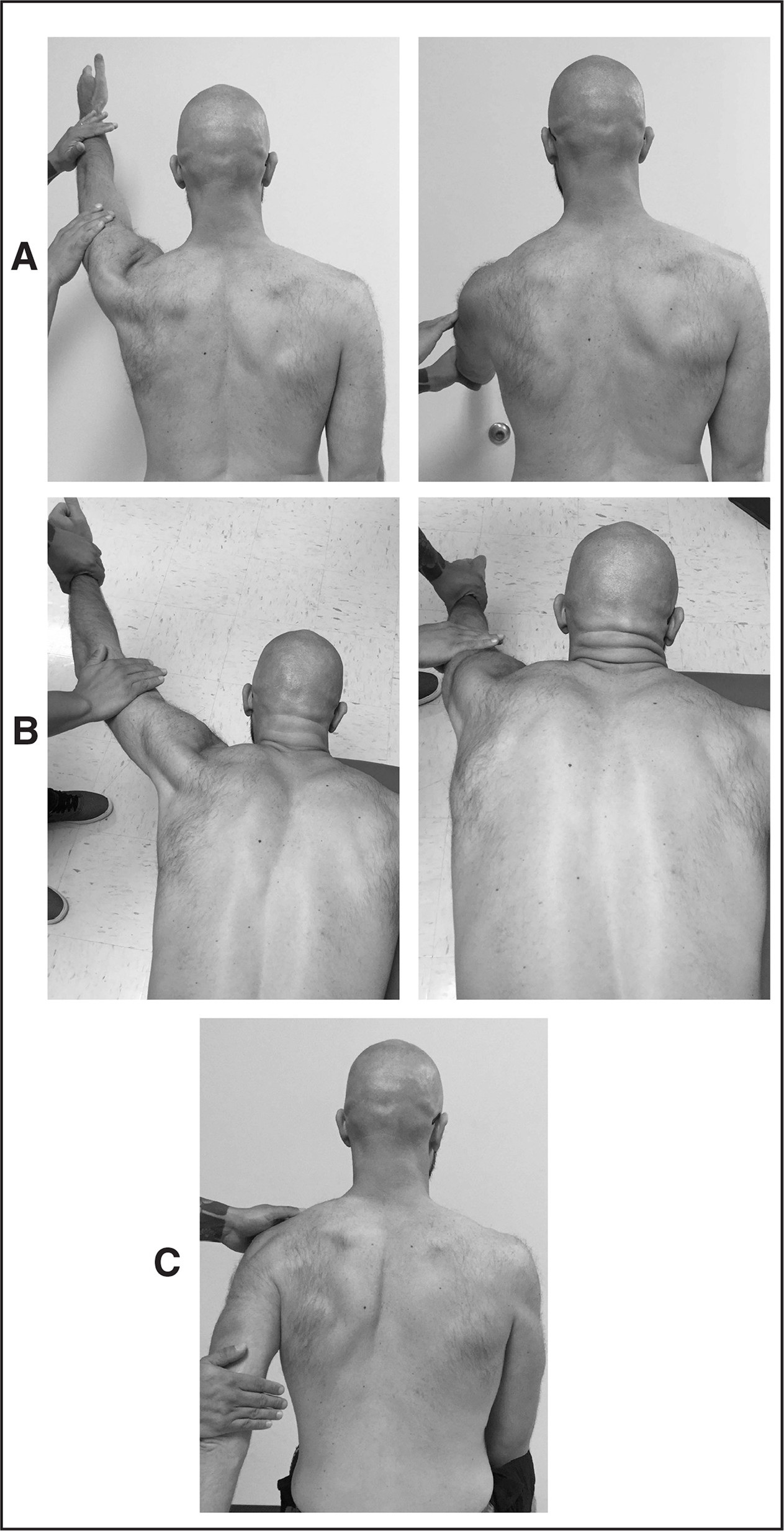 Manual muscle test for the (A) serratus anterior and (B) lower and middle trapezius showing (left) starting and (right) end positions, and (C) rhomboid muscles.