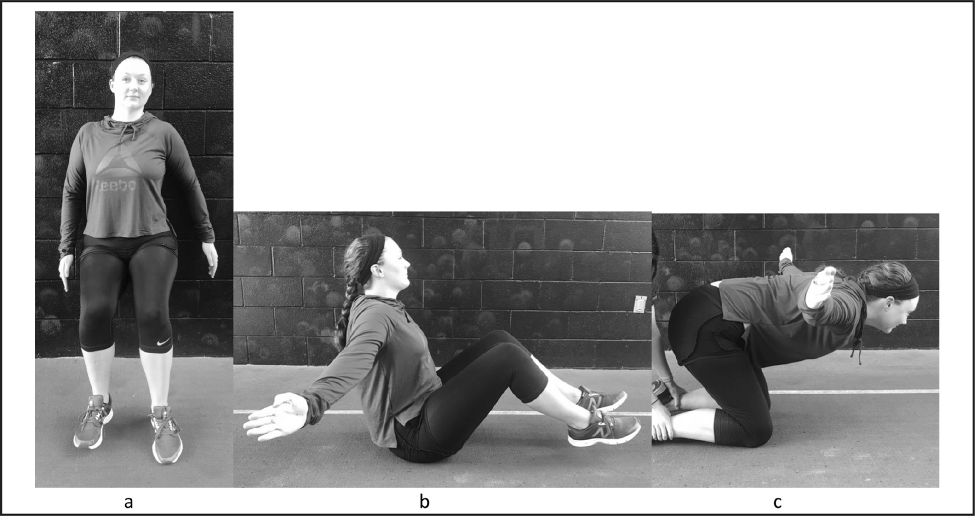 Lumbopelvic-hip endurance screening tests. (A) Unilateral wall sit hold test position, (B) trunk flexion hold test position, and (C) horizontal trunk hold test position.