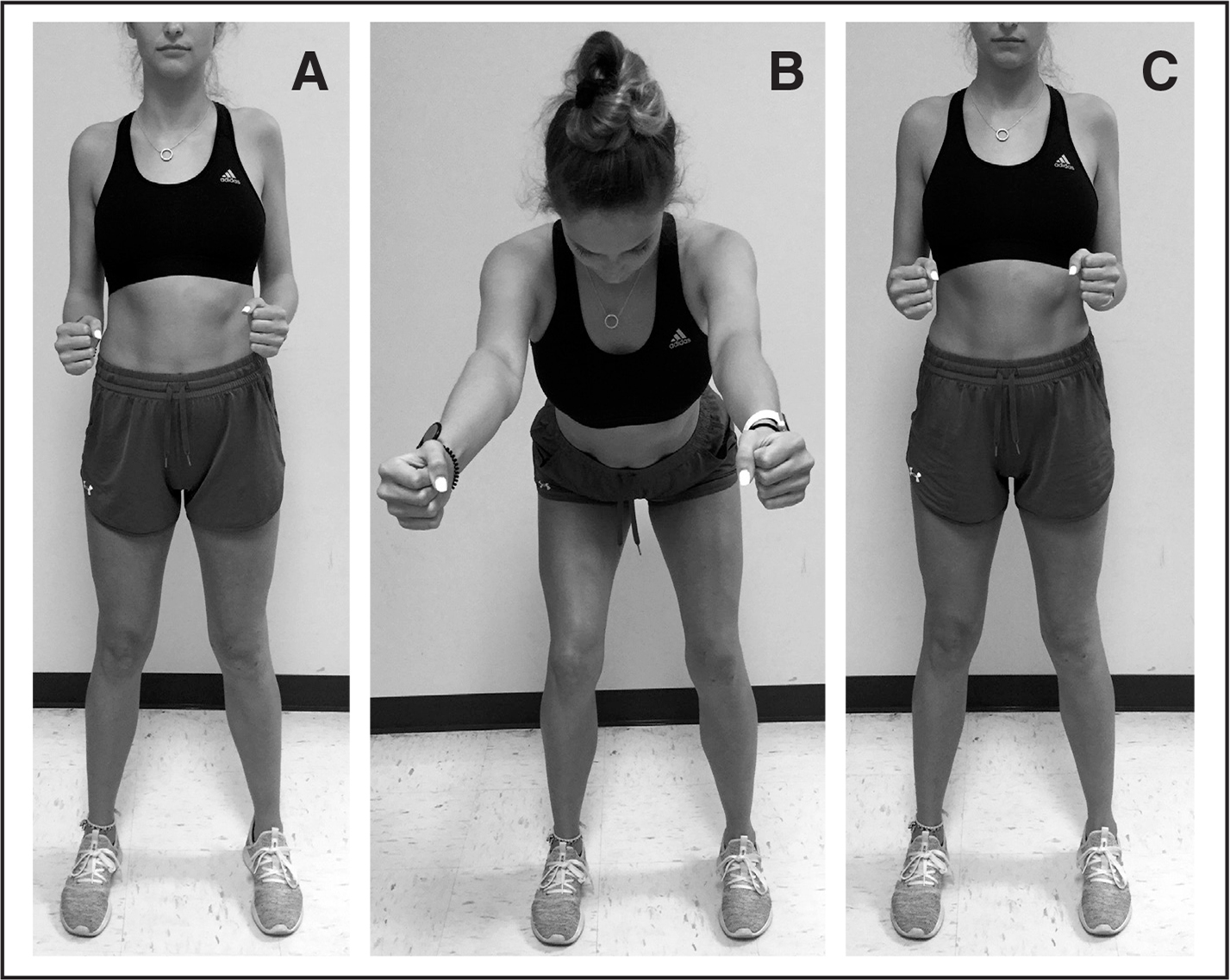 (A) Traditional row with body stationary. Kinetic chain row (B) beginning with trunk and knee flexion and (C) moving to a fully erect position.