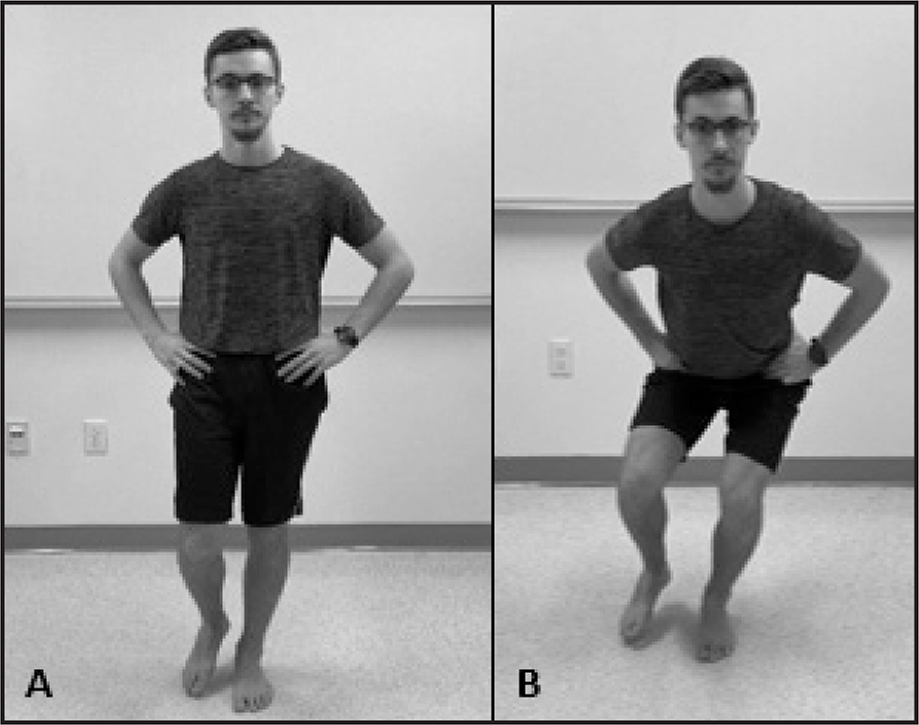 1-Leg Squat sub-test: (A) start position and (B) end position.