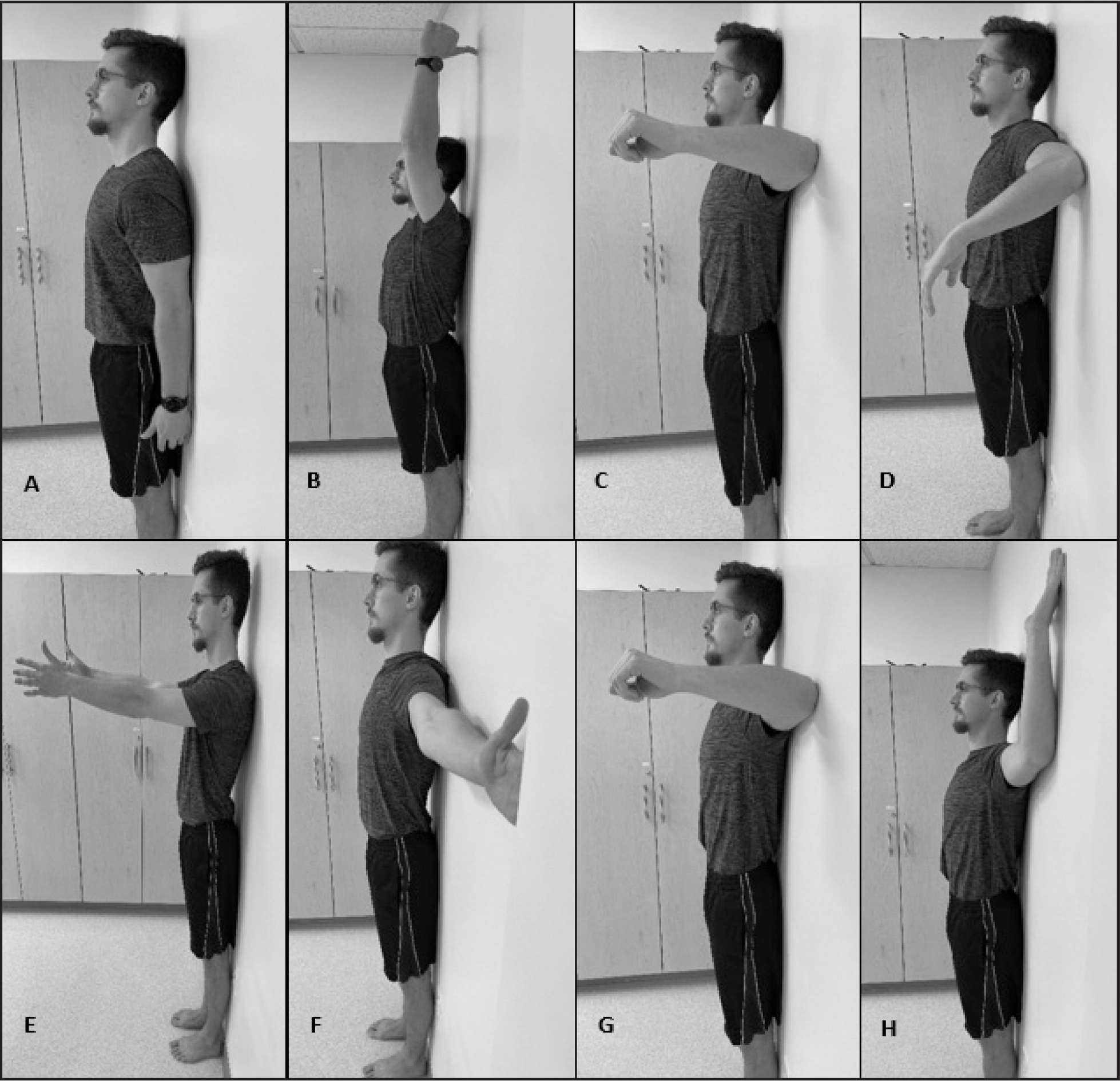 Shoulder Movements sub-test: (A) shoulder flexion–start position; (B) shoulder flexion–end position; (C) shoulder internal rotation–start position; (D) shoulder internal rotation–end position; (E) shoulder external rotation–start position; (F) shoulder external rotation–end position; (G) shoulder horizontal abduction–start position; and (H) shoulder horizontal abduction–end position.
