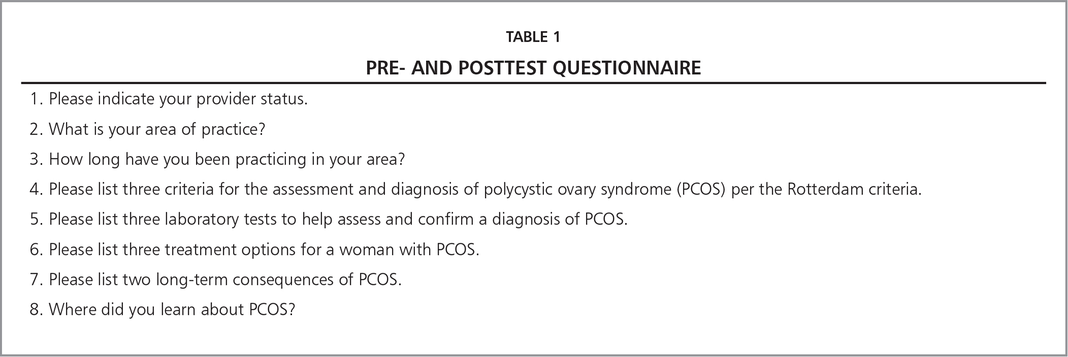 Pre- and Posttest Questionnaire