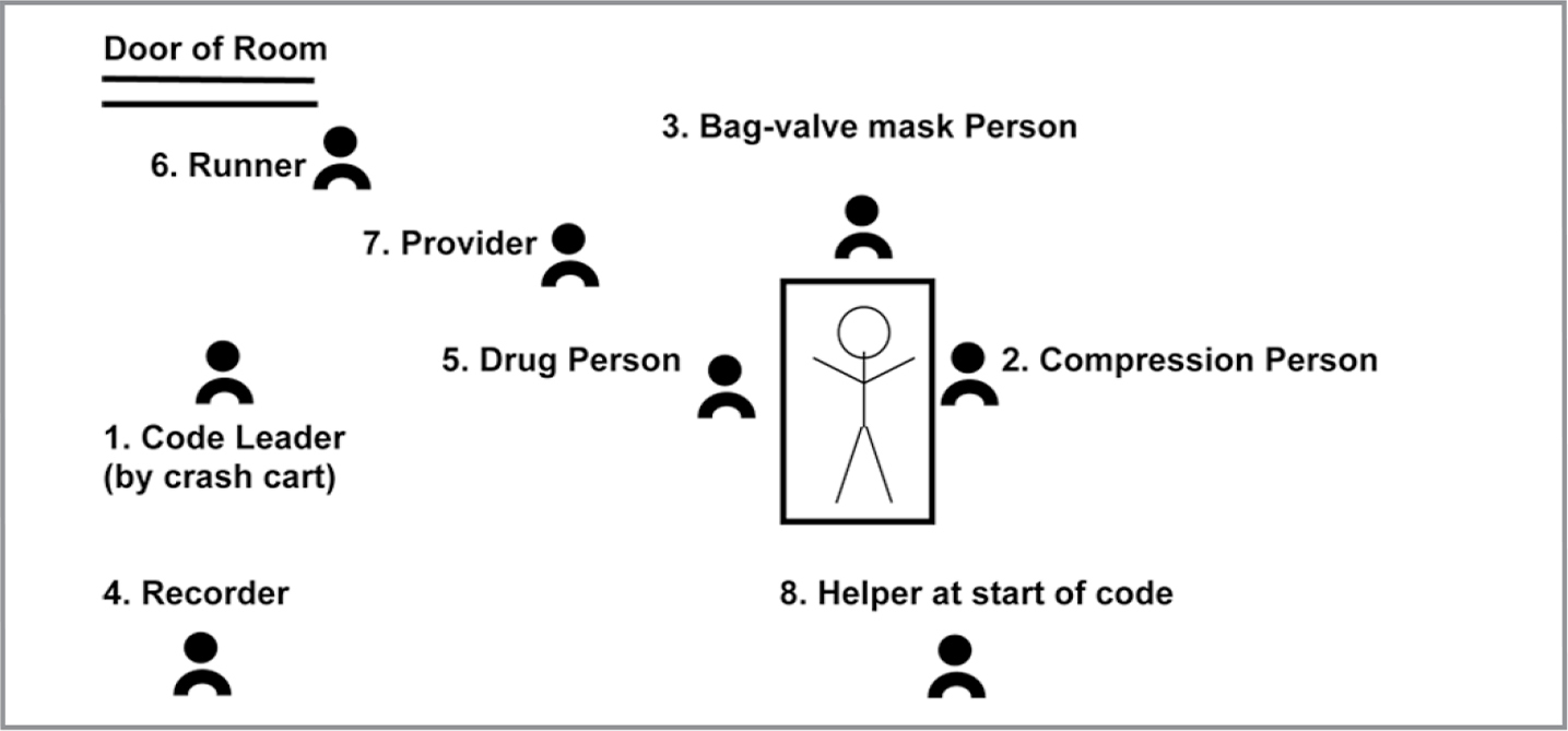 Code role positions are listed in priority order. The Code Leader is initially an RN who coordinates the cardiopulmonary resuscitation response. After arrival of the Provider, leadership transfers, and this RN monitors the crash cart and use of the defibrillator/monitor. The Primary Nurse is one of the code team members. The additional helper is directed by the Code Leader. Staff who are not required for the code return to the nursing unit.