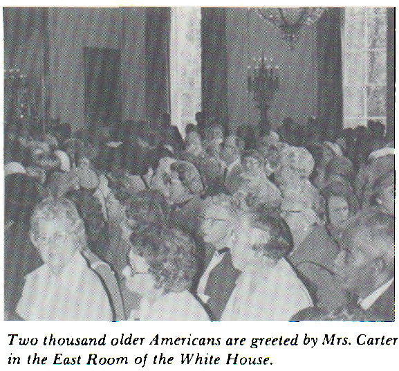 Two thousand older Americans are greeted by Mrs. Carter in the East Room of the White House.