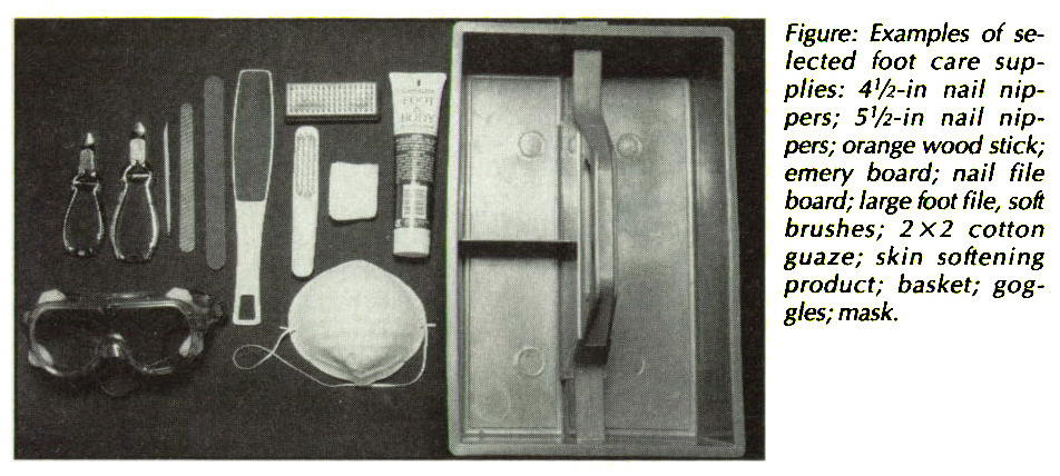 Figure: Examples of selected foot care supplies: 4'/2-in nail nippers; 5i/2-in nail nippers; orange wood stick; emery board; nail file board; large foot ftle, son brushes; 2x2 cotton guaze; skin softening product; basket; goggles; mask.
