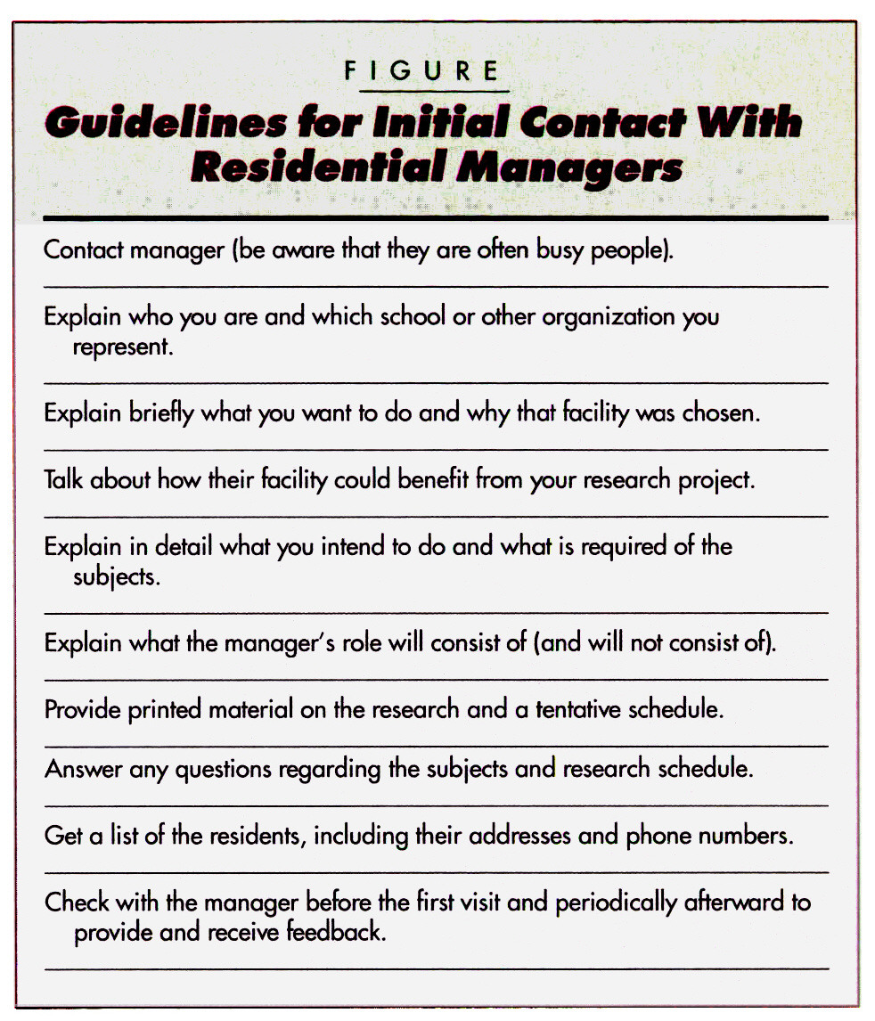 FIGUREGuidelines for Initial Contact With Residential Managers