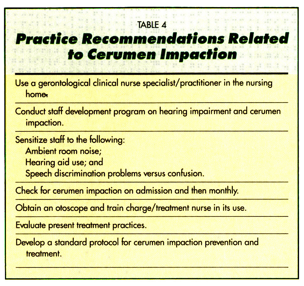 TABLE 4Practice Recommendations Related to Cerumen Impaction