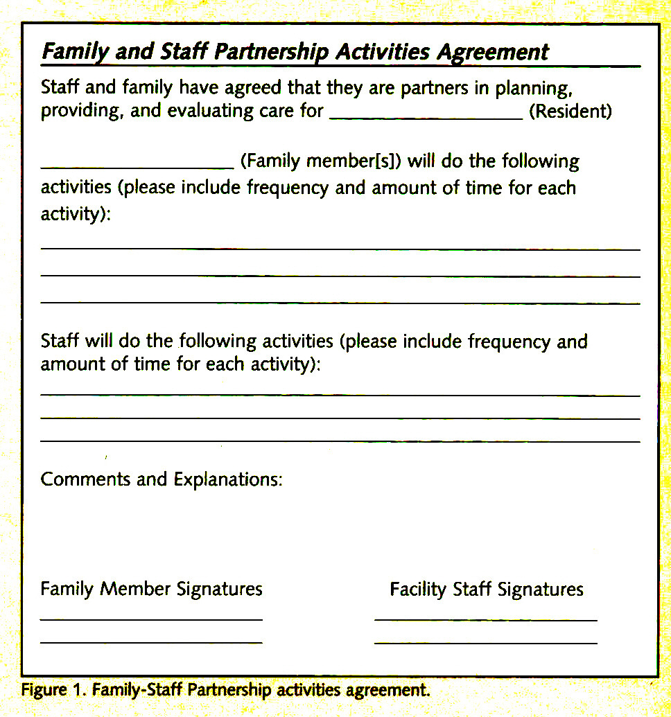 Figure 1 . Family-Staff Partnership activities agreement.