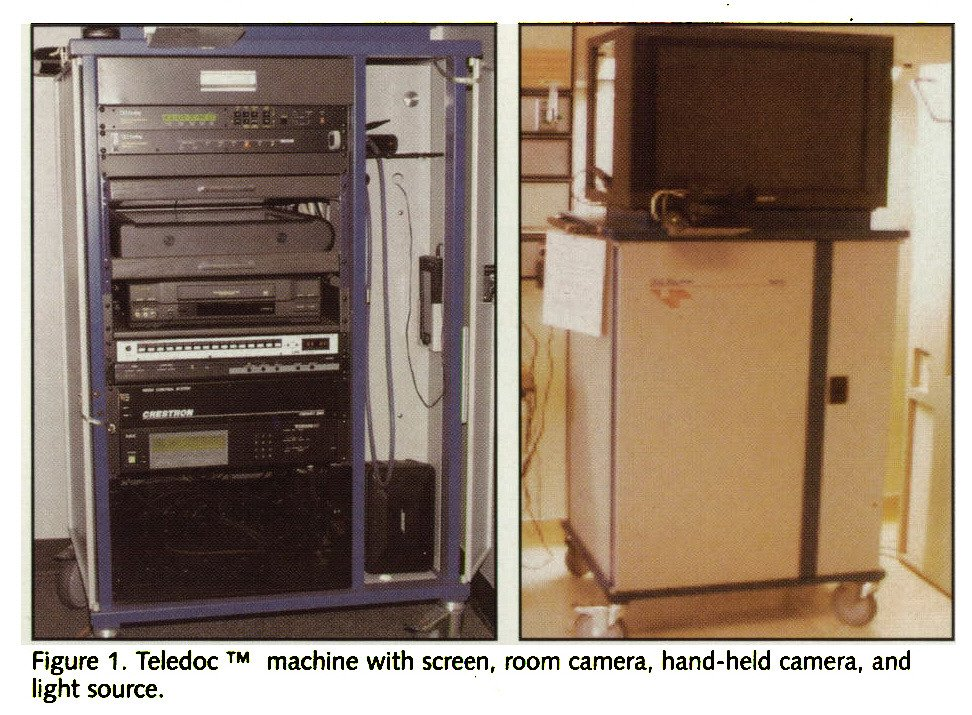 Figure 1. Teledoc ™ machine with screen, room camera, hand-held camera, and light source.