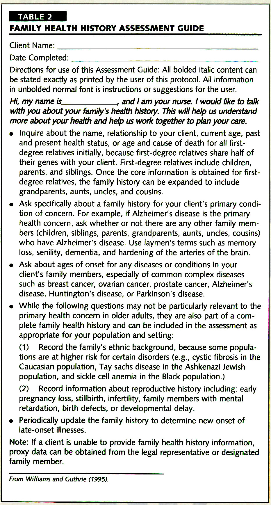 TABLE 2FAMILY HEALTH HISTORY ASSESSMENT GUIDE