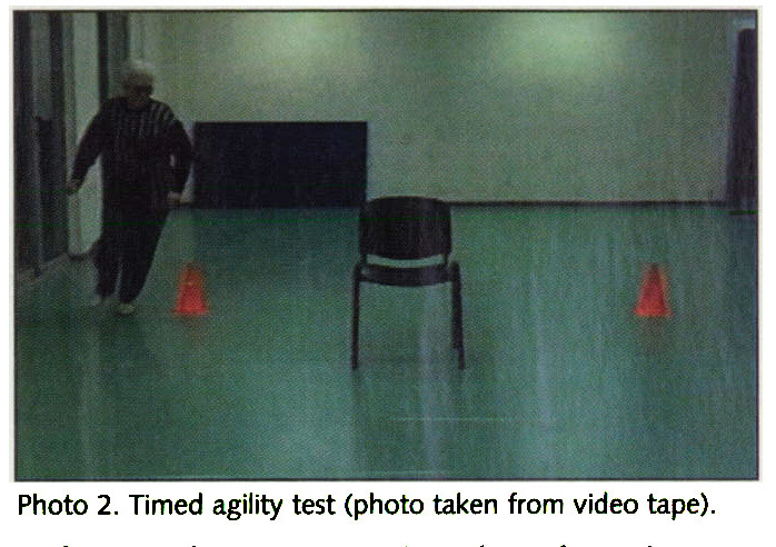 Photo 2. Timed agility test (photo taken from video tape).