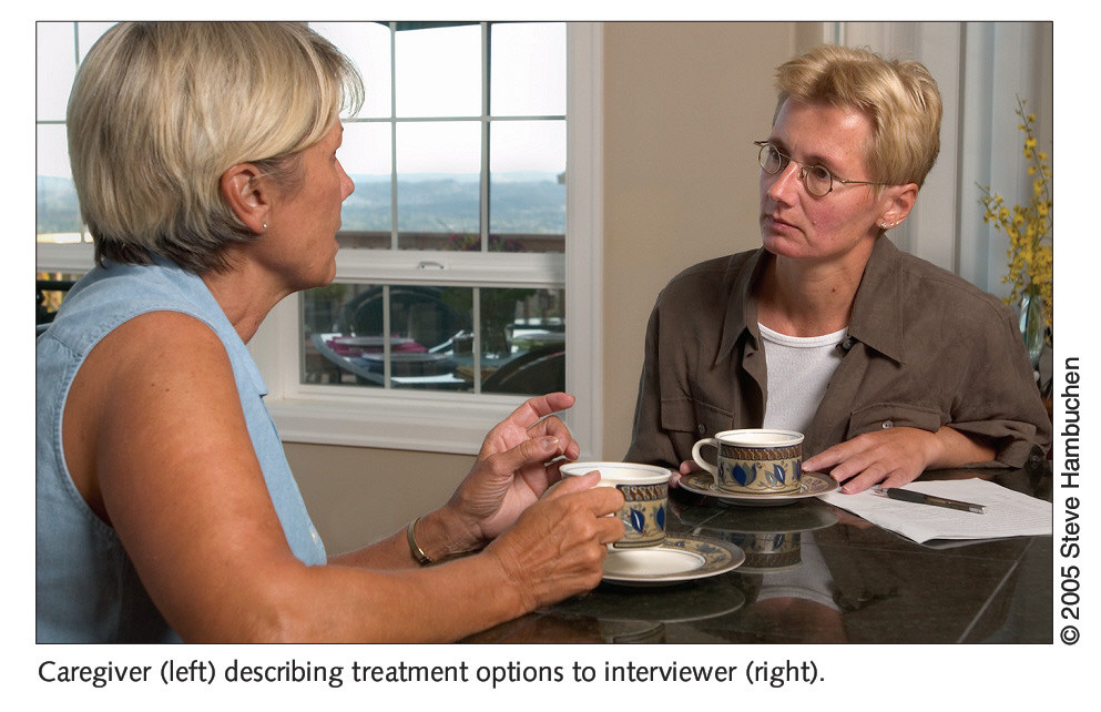 Caregiver (left) describing treatment options to interviewer (right).
