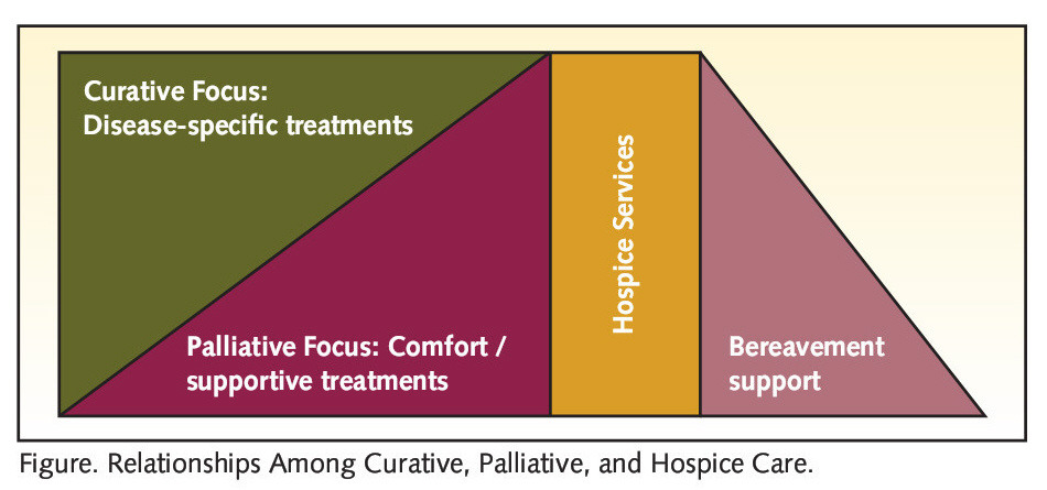 Figure. Relationships Among Curative, Palliative, and Hospice Care.