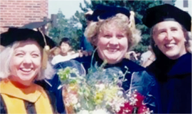 Pictured (left to Right) are: Sarah Hall Gueldner, Susan Loeb, and Janice Penrod in Academic Regalia.Photo Credit: Rob Loeb