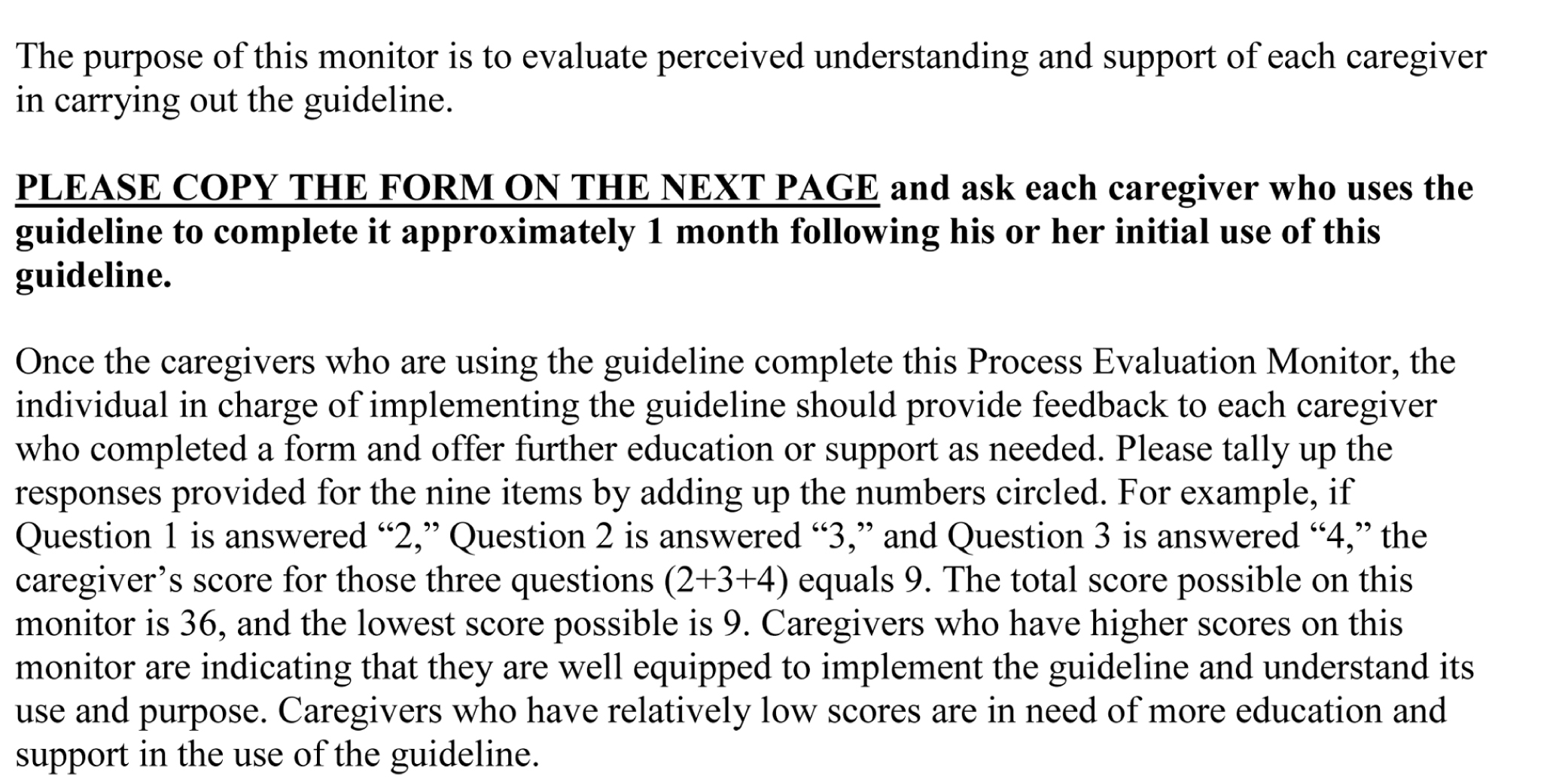 Instructions on Use of the Process Evaluation Monitor.