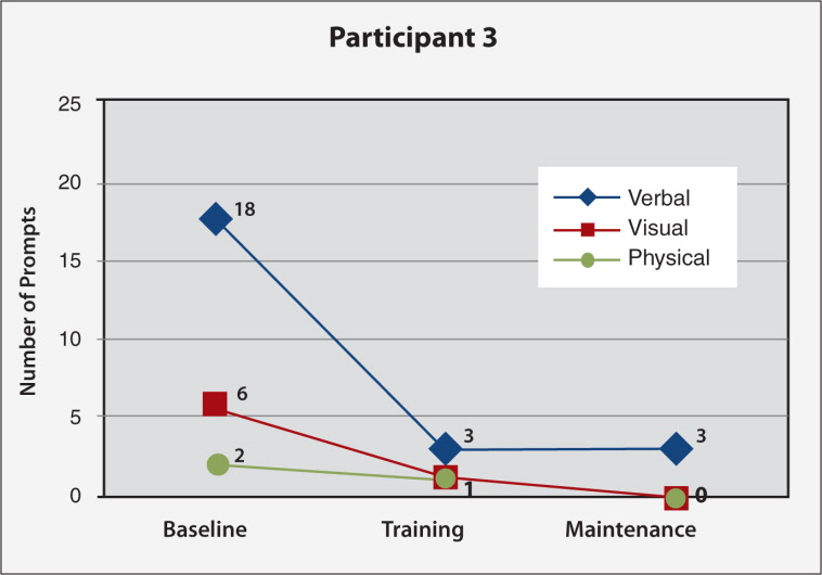 Frequency of verbal, visual, and physical prompting needed for Participant #3's task (making pancakes; 23 subtasks) at baseline, final nurse individualized skills training (IST) and final caregiver-led IST sessions.