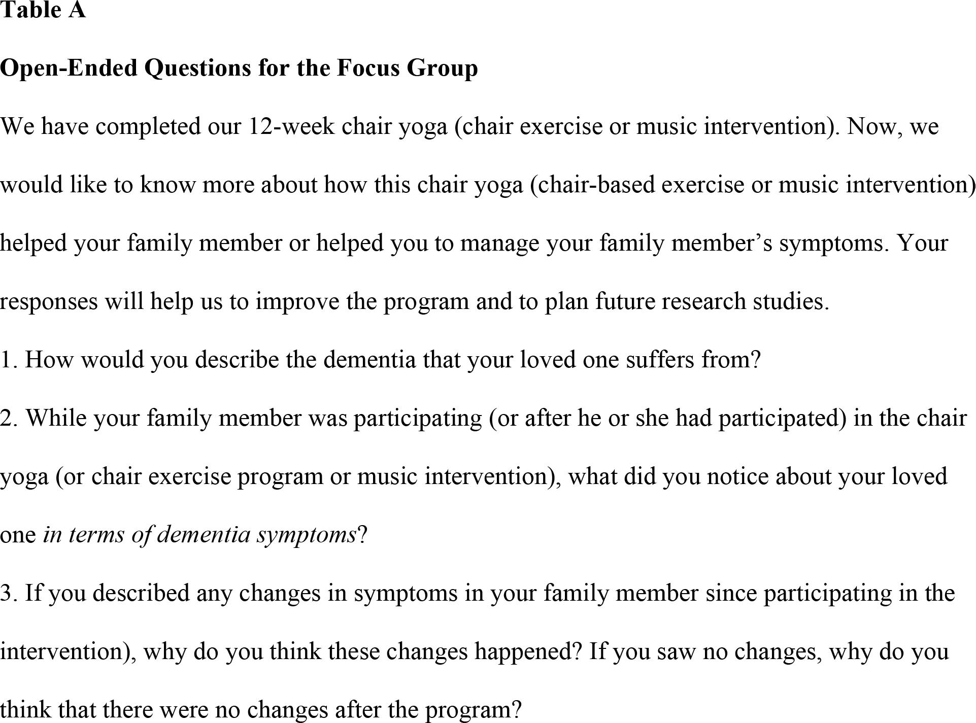 Open-Ended Questions for the Focus Group