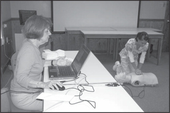 The voice advisory manikin, with connection to electrical outlets and laptop computer with Internet.