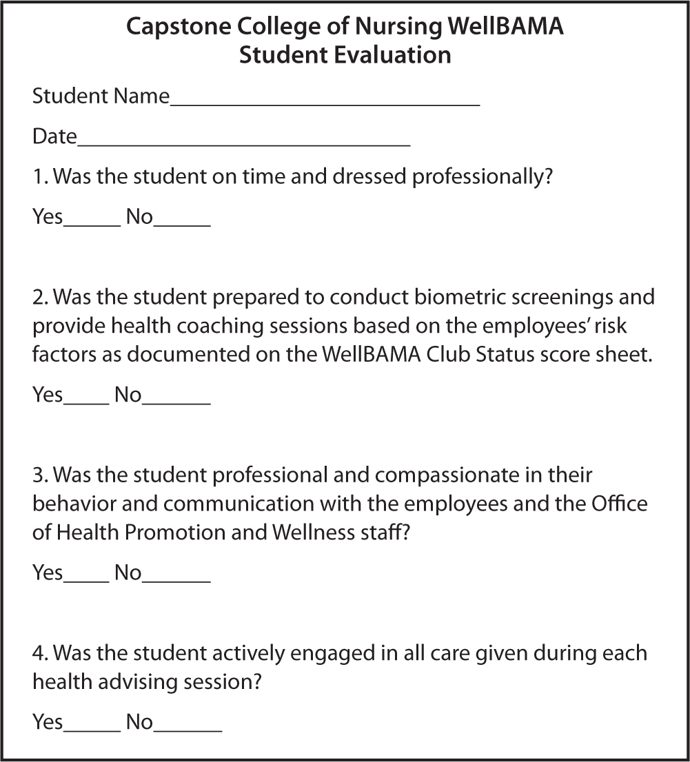 WellBAMA clinical evaluation form.