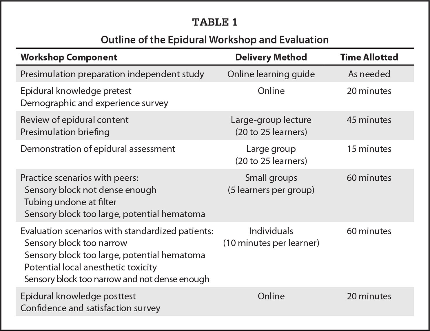 Outline of the Epidural Workshop and Evaluation