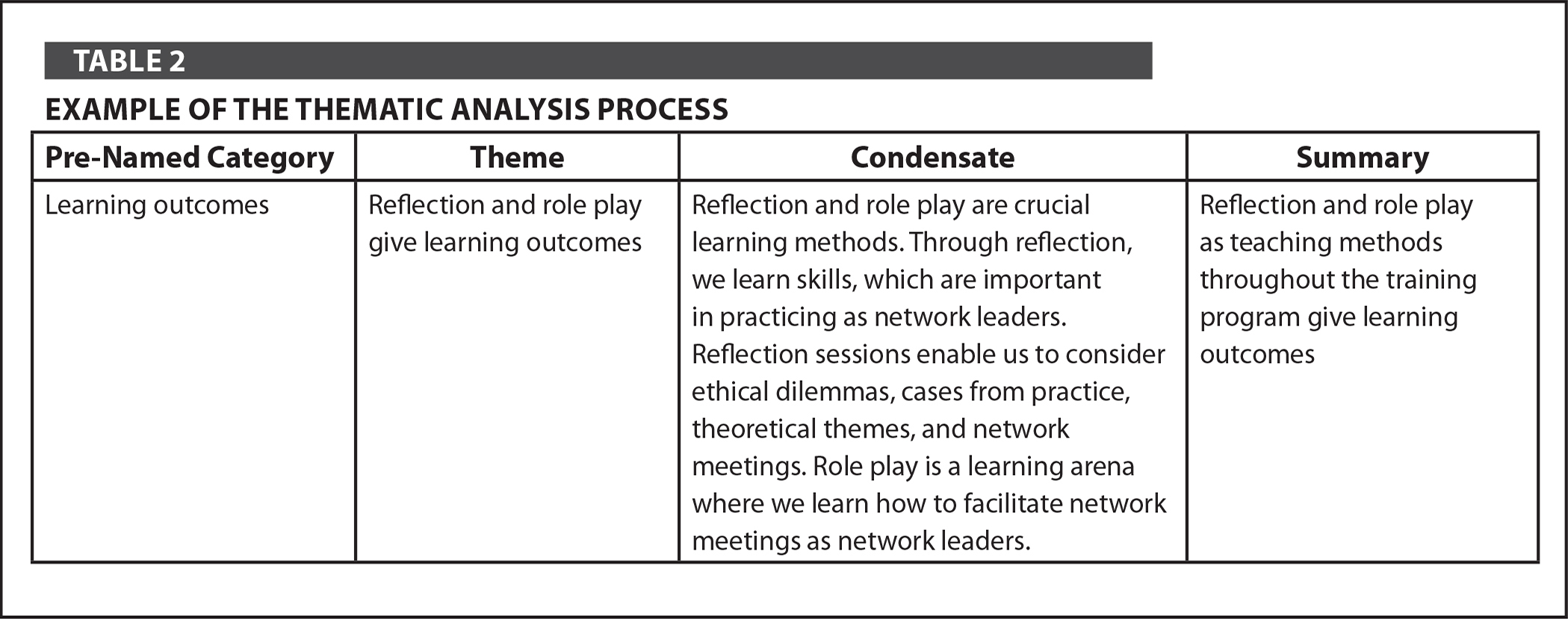 Example of the Thematic Analysis Process