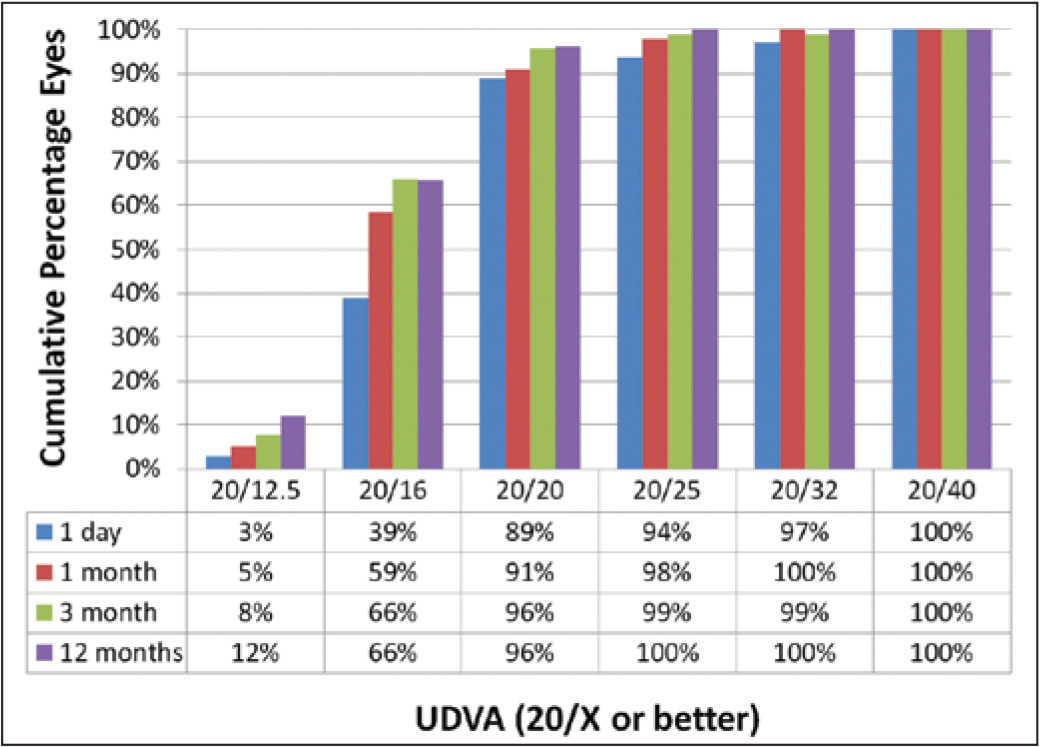 Cumulative histogram for uncorrected distance visual acuity (UDVA) at 1 day, 1 and 3 months, and 1 year.