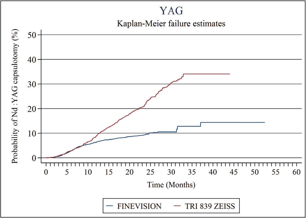 Survival analysis curves and failure distribution functions to Nd:YAG capsulotomy. Failure function, F(t) = 1 – S(t), gives the probability of having Nd:YAG capsulotomy up to the time point t.