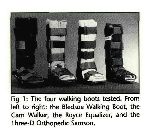 Fig 1: The four walking boots tested. From left to right: the Bledsoe Walking Boot, the Cam Walker, the Royce Equalizer, and the Three-D Orthopedic Samson.
