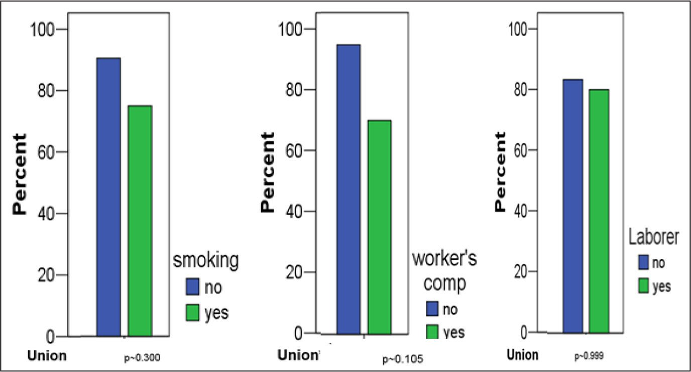 Patient-related factors and union rates following ulnar-shortening osteotomy using the Trimed dynamic compression plate (Valencia, California) at 24-month follow-up. There was a trend toward higher nonunion rates among patients with workers' compensation claims (P=.105), but no statistical differences were observed for any patient-related factors included in the study.