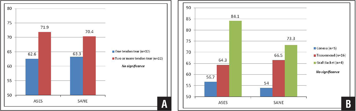 Bar graph showing patient outcome measures based on size of rotator cuff tear (1 tendon tear or 2 or more tendon tears), including American Shoulder and Elbow Surgeons (ASES) and Single Assessment Numeric Evaluation (SANE) scores (A). Bar graph showing patient outcome measures based on type of extracellular matrix patch, including ASES and SANE scores (B).