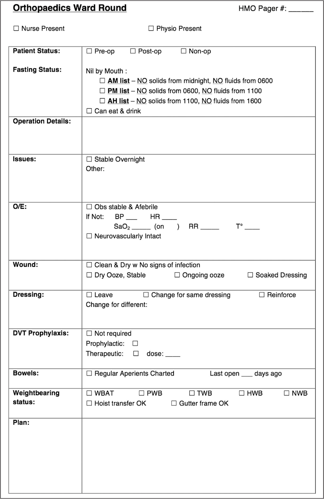 The checklist used by the medical staff during orthopedic ward rounds. It was easy to examine, mainly involved ticking off the appropriate boxes, and required minimal further documentation. Abbreviations: AH, after hours; BP, blood pressure; DVT, deep venous thromboembolism; HMO, health maintenance organization; HR, heart rate; HWB, heel weight bearing; Non-op, nonoperative; NWB, non-weight bearing; O/E, on examination; Obs, observations/vital signs; Post-op, postoperative; Pre-op, preoperative; PWB, protected weight bearing; RR, respiratory rate; SaO2, arterial oxygen saturation; T, temperature; TWB, touch weight bearing; WBAT, weight bearing as tolerated.