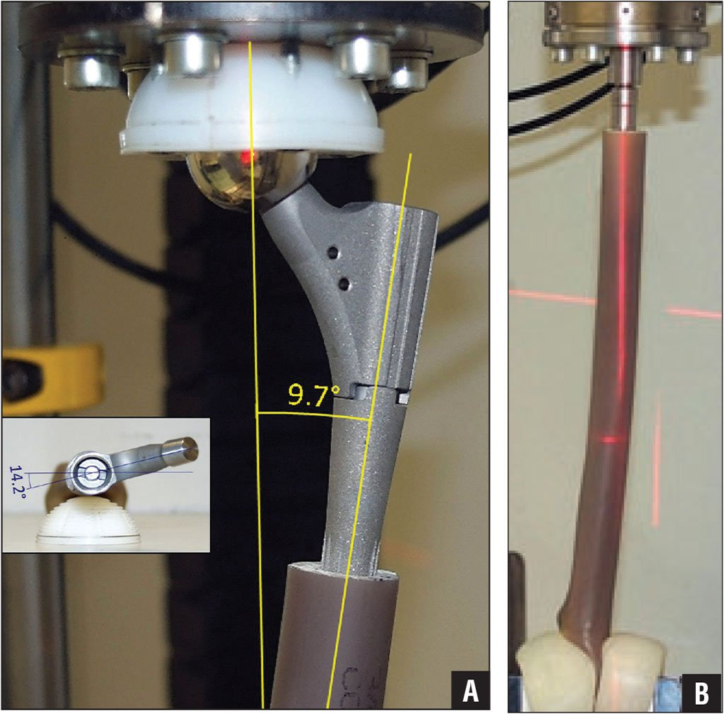 Specimen clamped into the 8874 Axial-Torsion Servohydraulic Fatigue Testing System (Instron Germany GmbH, Darmstadt, Germany). The axial stiffness of a proximal femoral stem is to be evaluated (A). The torsional stiffness of a distal femoral stem is to be evaluated (B).