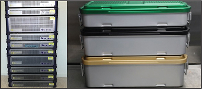 Three custom trays without wrapping compared with traditional trays.