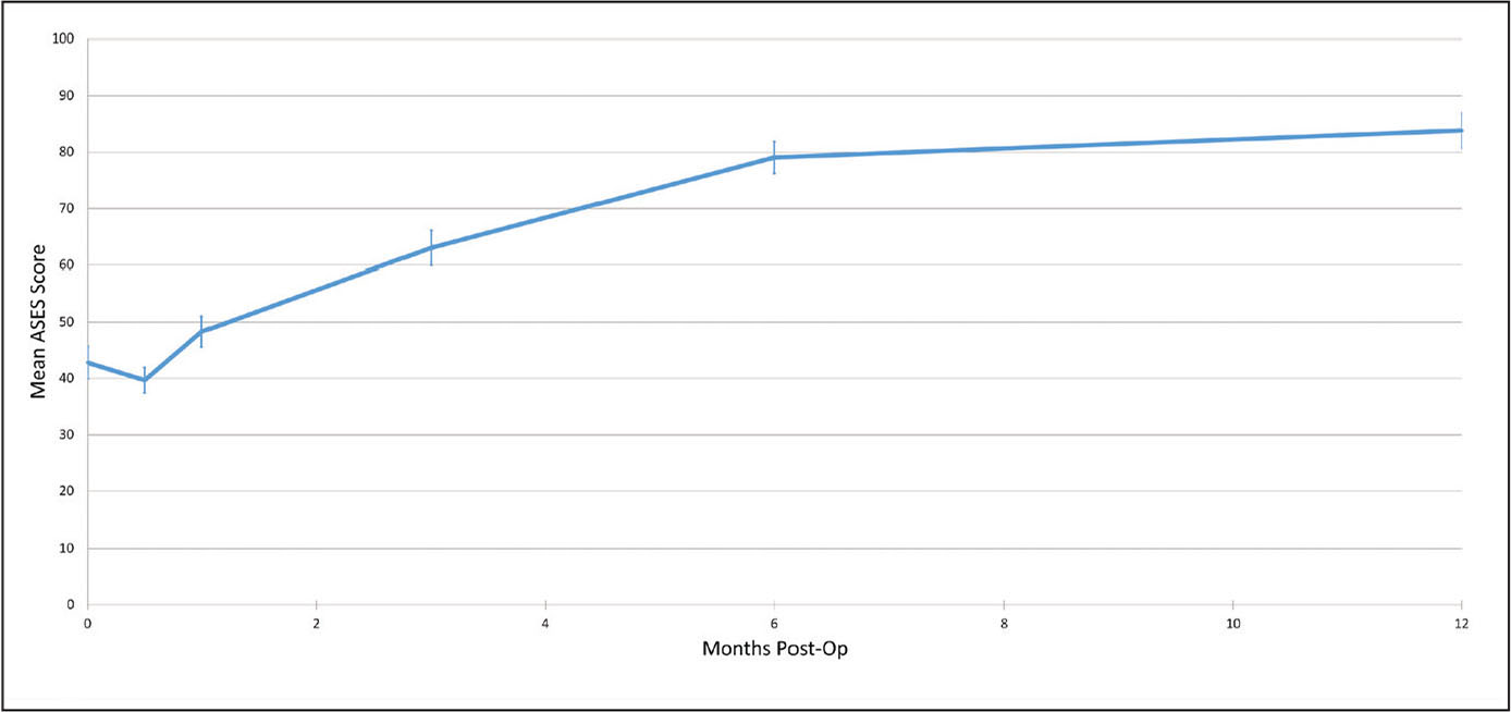 Line graph displaying the mean American Shoulder and Elbow Surgeons (ASES) scores during the first postoperative year. Error bars represent mean 95% confidence interval.