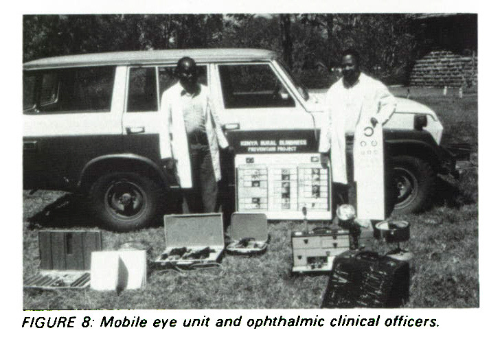 FIGURE 8: Mobile eye unit and ophthalmic clinical officers.