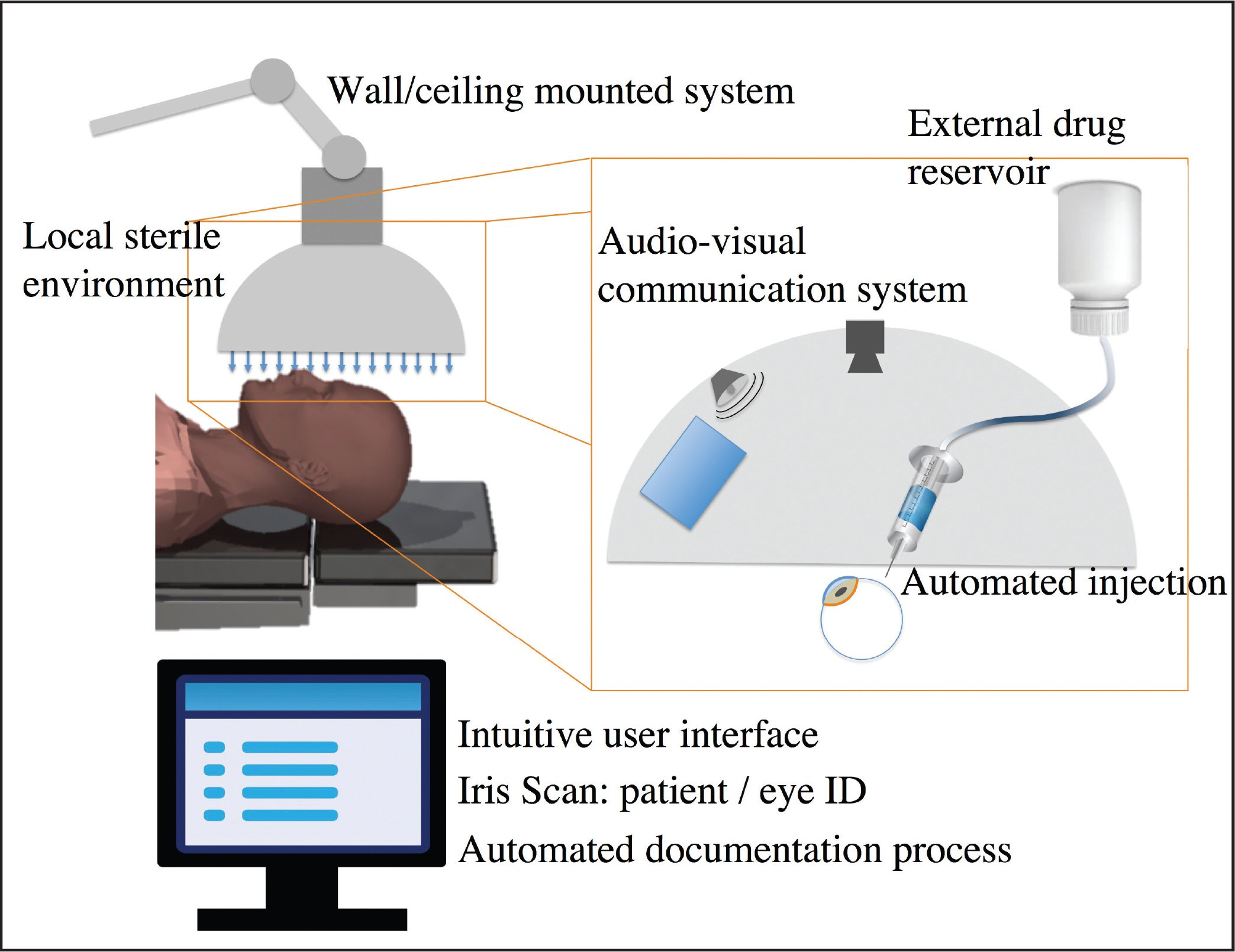 The system overview summarizes the system's functions, such as the general automated injection, the local sterile environment, a communication system, and the user interface.