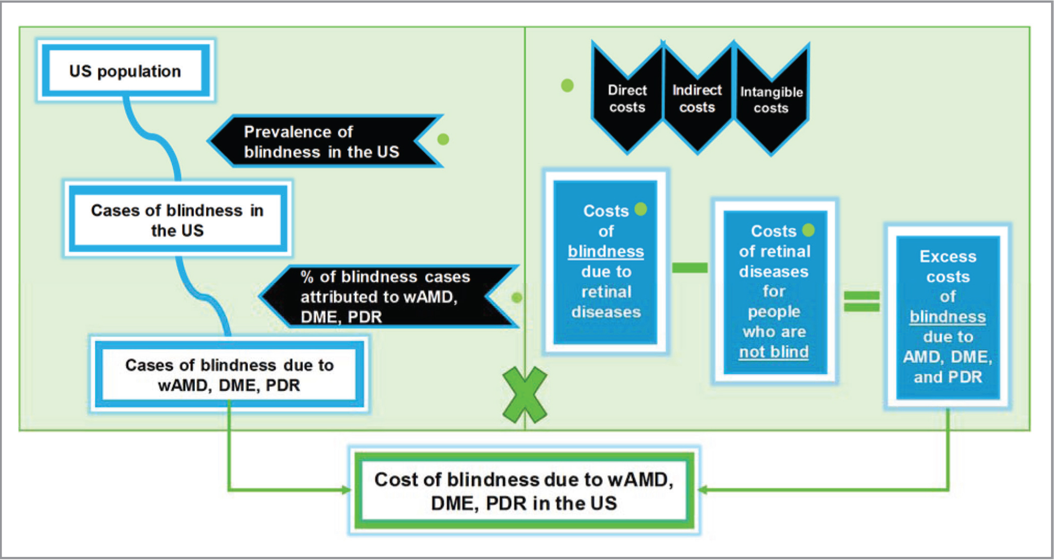 Model structure. In the model, the excess costs that occur as a result of blindness due to retinal diseases of interest were estimated as the difference of costs attributed to blindness due to the retinal diseases of interest and costs associated with non-blind individuals. DME = diabetic macular edema; PDR = proliferative diabetic retinopathy; US = United States; wAMD = wet age-related macular degeneration
