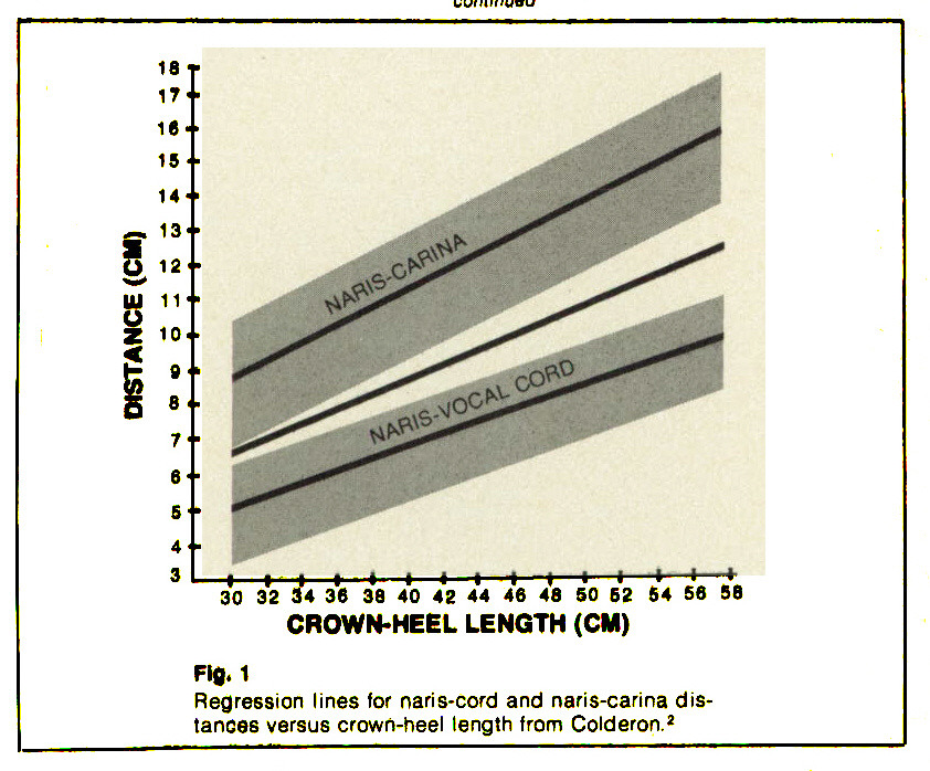 Fig. 1Regression lines for naris-cord and naris-carina distancée versus crown-heel length from Colderon.2
