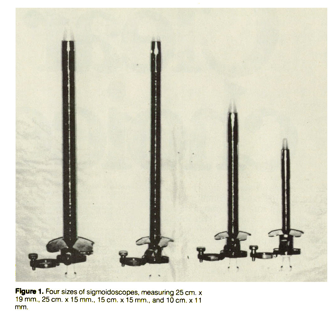 Figure 1. Four sizes of sigmoidoscopes, measuring 25 cm. x 19 mm., 25 cm. ? 15 mm., 15 cm. ? 15 mm., and 10 cm. x 11 mm.
