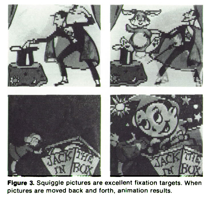 Figure 3. Squiggle pictures are excellent fixation targets. When pictures are moved back and forth, animation results.