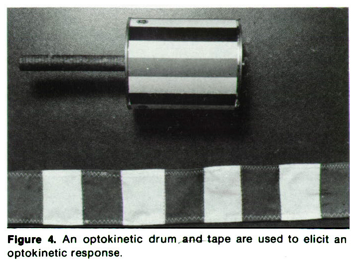 Figure 4. An optokinetic drum and tape are used to elicit an optokinetic response.