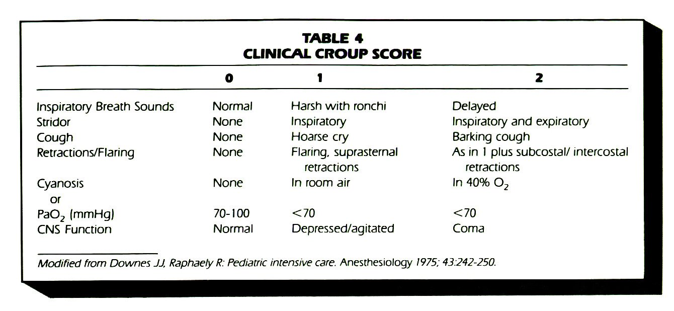 TABLE 4CLINICAL CROUP SCORE
