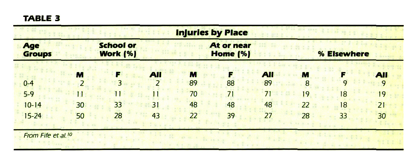 TABLE 3Injuries by Place