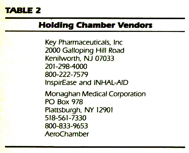 TABLE 2Holding Chamber Vendors